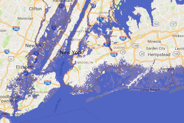 New York City Long Island And Newark Sea Level Rise Map Shore Up
